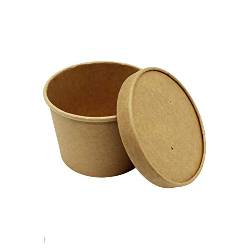 BAMI EINWEGARTIKEL Suppenschale | Suppenterrine | Soup to Go | Thermobecher | Einwegbecher aus Pappe, 16oz, ca. 475ml, Braun| 100 Becher + 100 Deckel