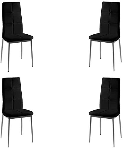 MOMMA HOME Set de 4 Sillas - Modelo Sara - Color Negro/Plata - Material Ecopiel/Metal Cromado - Medi