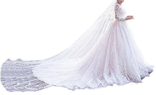 Yisha Bello Women's Chapel Train Wedding Dresses for Bride A-Line Lace Applique Long Sleeve Bridal Gowns 12 Ivory