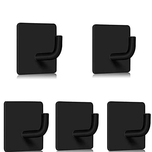 Donuts Adhesive Hooks Hanging Hooks Stick on Wall Heavy Duty Stainless Steel Hangers for Bathroom Kitchen Door Office Self Adhesive Hooks for Towel Coat Hat Black 5 Pack