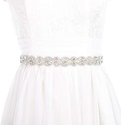 Brishow Rhinestone Bridal Belt Crystal Wedding Sash Appliqarl Thin Silver Bride Dress Belts product image