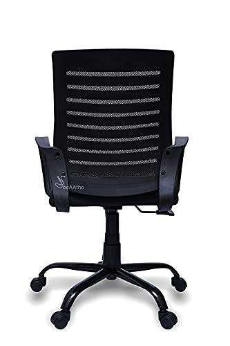 beAAtho Verona Mid Back Sturdy Metal Base Nylon Mesh Revolving Chair, Black