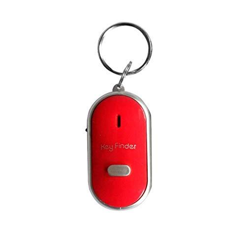 WEQQ Buscador de Teclas con Silbato LED, Alarma de Sonido Intermitente, localizador de buscadores de Teclas antipérdida (Rojo)