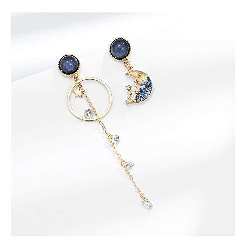 YANGYUAN Estrella y de Estilo Luna Pendientes atmosféricos, Brillante Moda Lujo luz Encantador, Pendientes adecuadas for Muchas Ocasiones (Color : Blue)