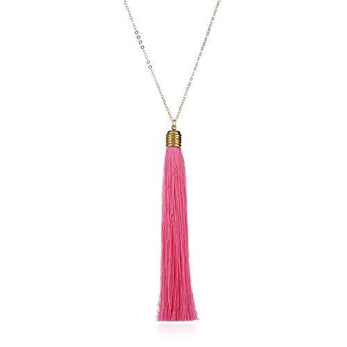 itscominghomeMode Hat Charme Ladies Vintage Ethnischen Stil Lange Quaste Pullover Kette Halskette-Pink