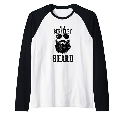 Keep Berkeley California BeARD Funny Hipster Retro Camiseta Manga Raglan