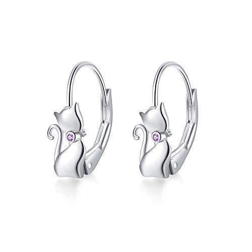 YAFEINI Katzen Ohrringe 925 Sterling Silber Katzen baumeln Creolen, Katzenschmuck Geschenk für Damen, Mädchen (Lila Katzen Ohrringe)