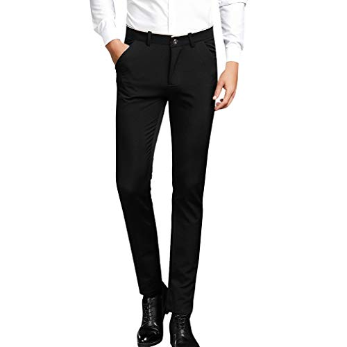 Yanhoo Herren Solid Casuall Slim Reißverschluss Business Hosen Lange Hosen 667 Herren einfarbige Hose mit geradem Reißverschluss