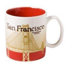 Starbucks 2011 San Francisco Golden Gate Bridge City Mug,Cream, Tan and Burgundy
