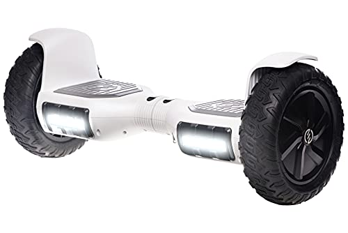 """RIDE SWFT Sonic Hoverboard Self Balancing All Terrain Scooter,10"""" Off Road Tires, Top Speed of 9 mph, 8 Mile Distance,LED Lights, Bluetooth Speakers, 27 Point Safety Inspection, Snow White"""