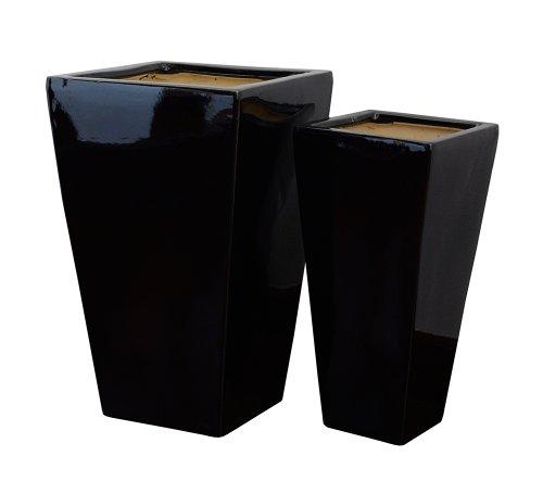 Gartenfreude 4200-1015-102 Lot de 2 Pots à Plantes en céramique Noir 27 x 27 x 47 cm/19 x 19 x 36 cm