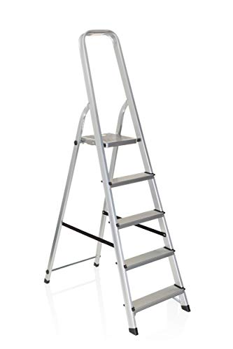 hjh OFFICE 801100 escalera plegable SOLID III aluminio 5 peldaños gran plataforma...