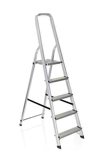 hjh OFFICE 801100 Klappleiter SOLID III Aluminium Trittleiter mit 5 Stufen und Sicherheitsbügel, bis 150kg belastbar
