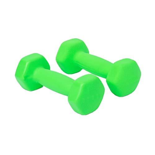 WFS Pesas Gimnasio Barra mancuerna Peso Par Duradero Diseño de Fitness Ejercicio de la Gimnasia con Antideslizante de la Mano for Hombres y Mujeres Musculación (Color : Green, tamaño : 6KG (3kg*2))