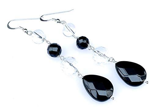 Pendientes de plata 925 cristal de roca y agata negra, pendientes colgantes largos, joyas de piedras semi preciosas, joyas para mujer, joyas de piedras naturales