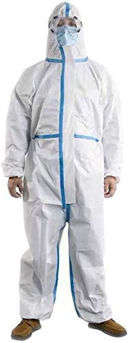 Disposable Coveralls Protective Overalls One Piece Design with Attached Hood Elastic Cuff and Reinforced Seam 1 Pack (Large)