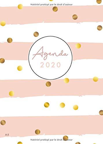 2020 Agenda A5: Agenda Semainier 2020 Janvier à Décembre - Format 15x21 cm - Style Rose Girly Décoratif - Pois et Rayures Roses
