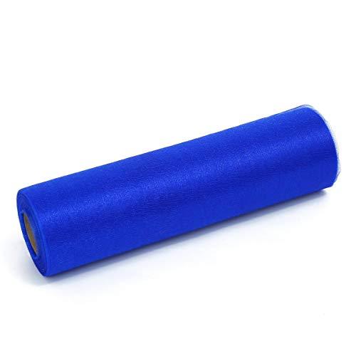 ZADAWERK® Organza - 30 m x 28 cm - Blau - 1 Rolle – Deko - Meterware Organzastoff als Tischläufer