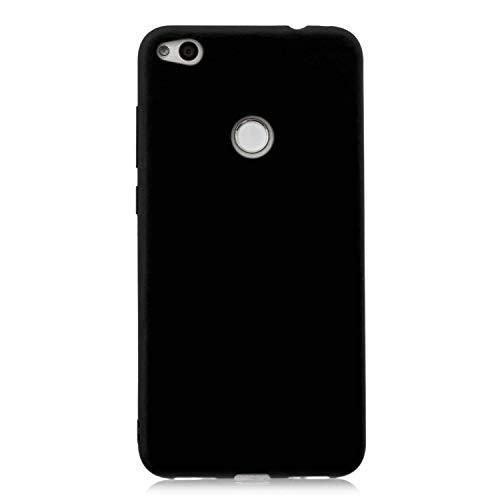 cuzz Funda para Huawei P8 Lite (2017)+{Protector de Pantalla de Vidrio Templado} Carcasa Silicona Suave Gel Rasguño y Resistente Teléfono Móvil Cover-Negro