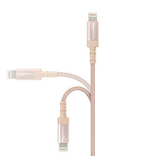 Amazon Basics Verbindungskabel Lightning-auf-USB-A, Nylon, geflochten, 1,8 m, zertifiziert von Apple, Gold