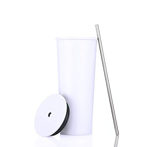 Aiboria 23oz/700ml Edelstahl-Reisebecher mit Deckel und Strohhalm, wiederverwendbarer vakuumisolierter Becher-Wasserbecher, doppelwandiger Reisebecher mit Strohhalmen für Kaffee, Tee, Getränke