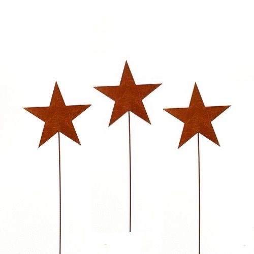 Stern, Sterne; Metall, Rost; 3 Stück; 50 cm; Gartenstecker, Blumenstecker, Beetstecker
