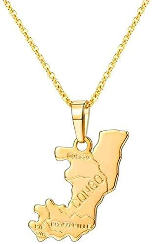 WYDSFWL Collar Mapa del Congo Collar Oro Brasil/Haití/Marruecos/Sicilia/Camerún/Polonia/Italia República del Congo Collar de joyería con Tarjeta
