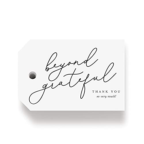Bliss Collections Thank You Gift Tags, 50 Beyond Grateful Tags for Wedding, Bridal Shower, Baby Shower Favors - Perfect for Birthday, Events, or Celebration
