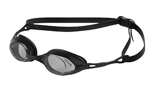 arena Unisex Wettkampf Profi Schwimmbrille Cobra (UV-Schutz, Anti-Fog Beschichtung, Harte Gläser), schwarz (Smoke), One Size