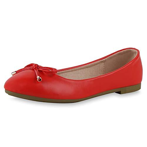 SCARPE VITA Damen Klassische Ballerinas Leder-Optik Schuhe Slip On Freizeitschuhe Slipper Schleife Schlupfschuhe Flats 191456 Rot 41