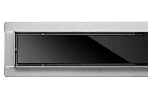 FALA Duschrinne aus Glas, schwarz, Siphon mit Geruchsstop und Haarsieb, Randablauf, Edelstahl Ablaufrinne, Bodenablauf(80 cm)