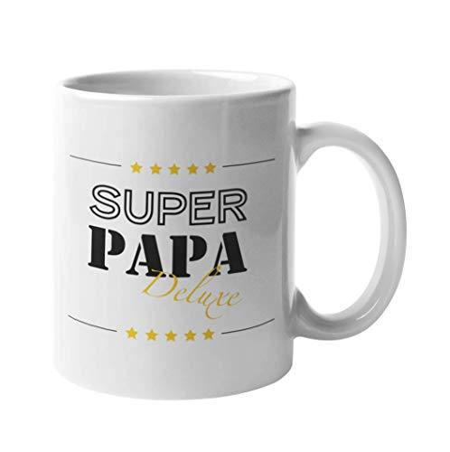 Shirtinator Papa Geschenk Tasse mit Spruch I Super Papa Deluxe I Geburtstag Vatertagsgeschenk Geschenkideen zum Vater-Tag