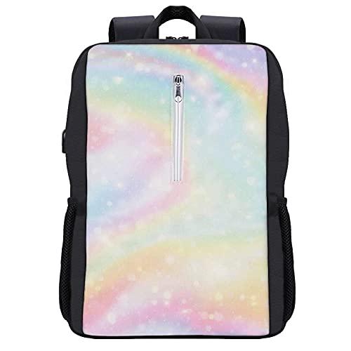 Zaino per laptop da viaggio,Candy Oil Galaxy Fantasy Girl Rainbow Pink Lilla Pastel Abstract Universe Unicorn Star,Borsa per computer antifurto all'acqua Business Slim con porta di ricarica USB