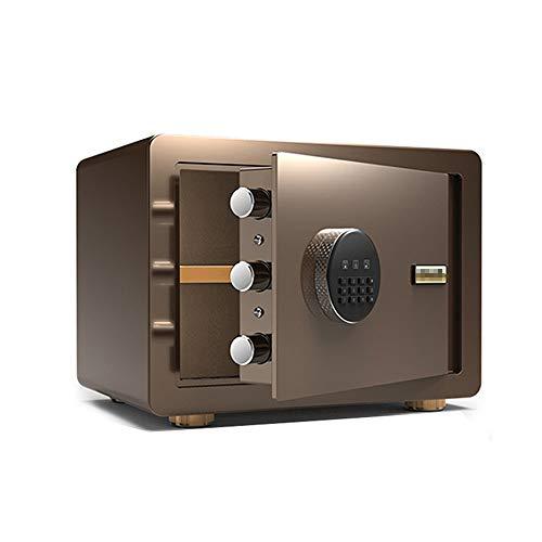 YuYzHanG Digital Steel Safety Box 2 Handbuch Digital Safe Elektronischer Stahl Safe Mit Tastatur Überschreiben Schlüssel Protect Geld Schmuck Pässe Safe (Color : Coffee Gold, Size : 35x25x25cm)