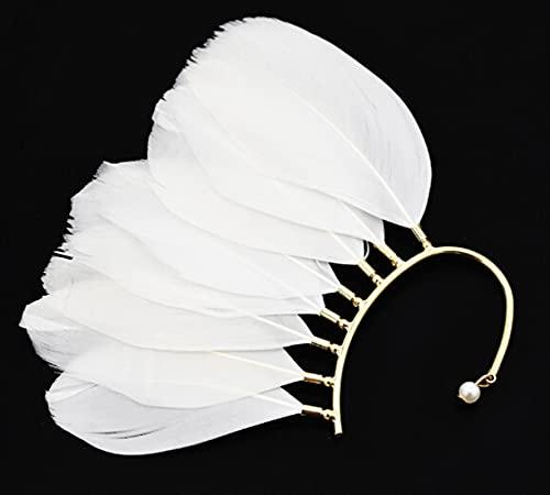 Diademas Nuevo 1 UNID ÚNICO (izquierda) Unisex Big Feather Ear Puño Non Piercing Gold Clip On Pendientes para Mujeres/Hombres (Metal Color : White)