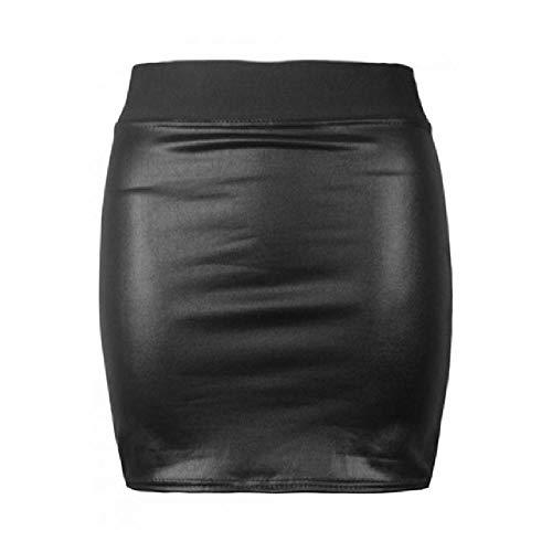 Falda Sexy para Mujer en Suave Cuero de PU con Cintura Alta Falda Delgada Falda elástica Ajustada Coreana para Mujer
