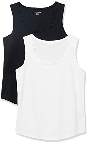 Amazon Essentials Women's 2-Pack Classic-Fit 100% Cotton Sleeveless Tank, Black/White, Small