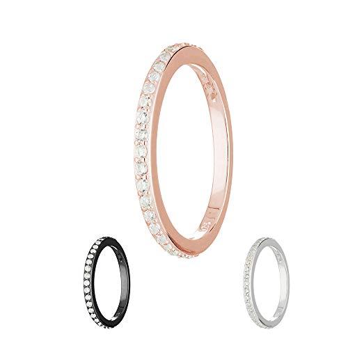 Treuheld® | Schmaler Ring aus 925 Sterling Silber | in Roségold mit Zirkonia - Kristallen | Ringgröße 55 | Breite 2mm | Damen | Vorsteckring