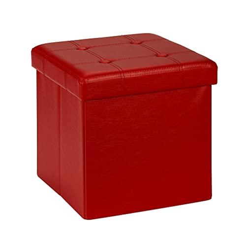 D&D Quality Pouf contenitore, sedile imbottito, 38 x 38 x 38 cm, pieghevole, esterno in similpelle morbida, carico massimo di 300 kg (rosso)