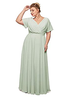 Alicepub Wrap V-Neck Plus Size Bridesmaid Dresses Chiffon Long Maxi Formal Dress for Women Party Evening, Sage Green, US22