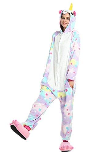 VineCrown Unicornio Pijama Animal Disfraces Traje Adultos Ropa de dormir Novedad Pijamas de una pieza Cosplay Carnaval Halloween Navidad (S for 150CM- 160CM, Estrellas)