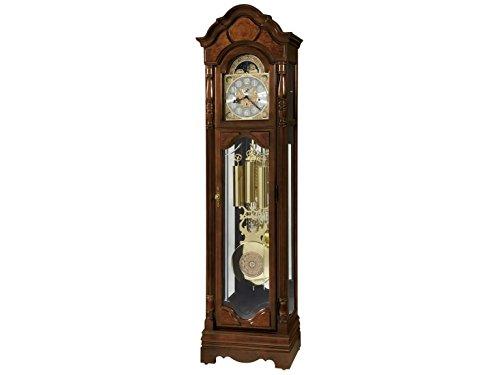 Howard Miller Relógio de chão Wilford 611-226 – Relógio de decoração Cherry Bordeaux Grandfather com caixa iluminada e cabo drive, movimento de campainha única