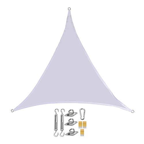 BYZHP Toldo Vela de Sombra Triangle Sun Shade Sail Polyester Impermeable Anti-UV Sombra Sombra Sora Tabla Tabla con Kit de fijación Triángulo Sun Sun Shade Bead Tweing (Color : White, Size : 6x6x6m)