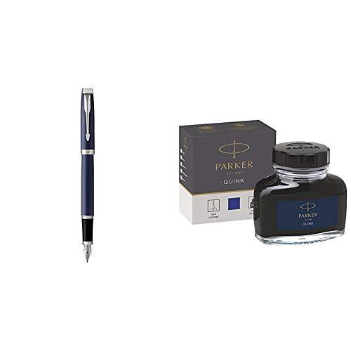 PARKER IM, pluma estilográfica azul mate, con plumín mediano y recambio de tinta azul (1931654) + tintero de tinta líquida Quink para plumas estilográficas, 57ml, en caja, color azul