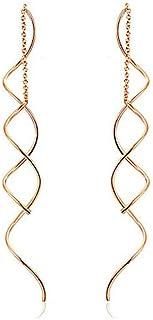 Simple wave curve earrings long fringe ladies earrings,rose gold