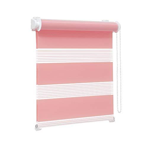 Victoria M. Zevra Estor Doble Enrollable - Estor día y Noche translúcido, 150 x 160 cm, Rosa