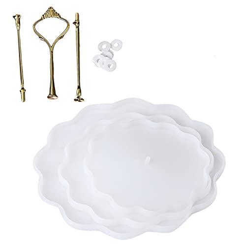 LFONCE Ins Style - Soporte para tartas con forma de flor de tres capas, soporte de exhibición de frutas de plástico para tartas, Baby Shower, molde de bandeja de fiesta de cumpleaños de la familia