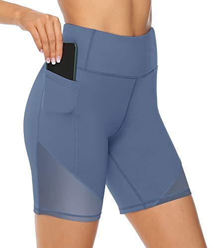 JOYSPELS Radlerhose Damen, Kurze Sporthose Kurz Laufhose Leggings, Blau M