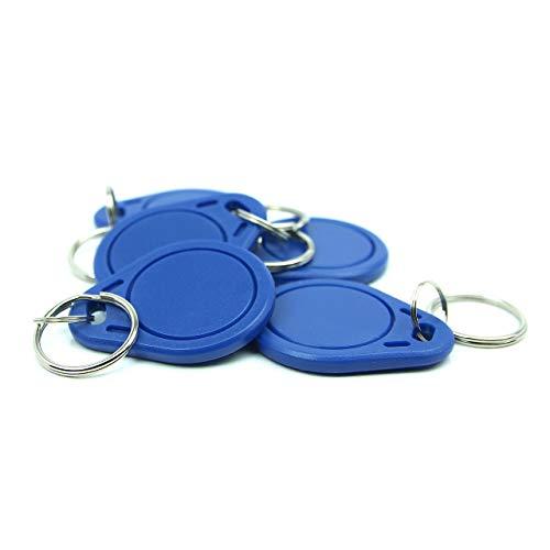 NFC Anhänger, 40x32mm, 924 Byte, blau, optimal für Kontaktdaten/Profilsteuerung (WLAN, Bluetooth, Apps), kompatibel mit Allen NFC Smartphones und Tablets, 5 Stück