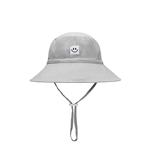 Baby Sun Hat Smile Face Toddler UPF 50+ Sun Protective Bucket hat Nice Beach hat for Baby Girl boy Adjustable Cap Gray